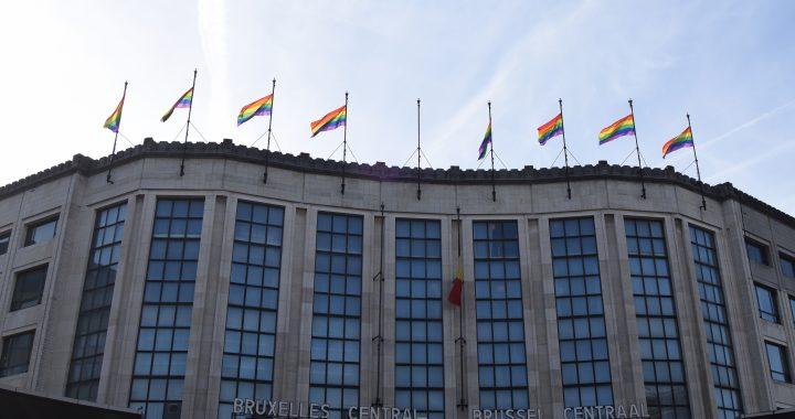 Brussel-Centraal regenboogvlaggen Bruxelles-Central drapeaux arc-en-ciel